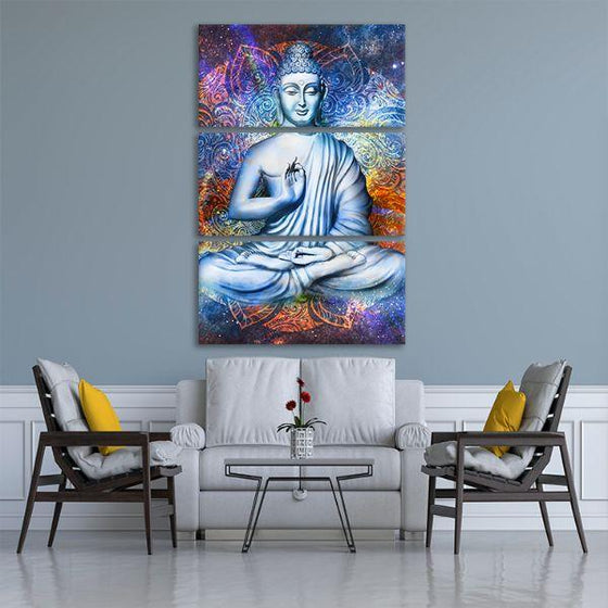 Lotus Posed Buddha 3 Panels Canvas Wall Art Print