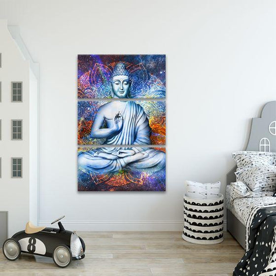 Lotus Posed Buddha 3 Panels Canvas Wall Art Set