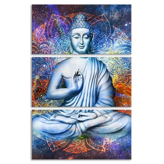 Lotus Posed Buddha 3 Panels Canvas Wall Art