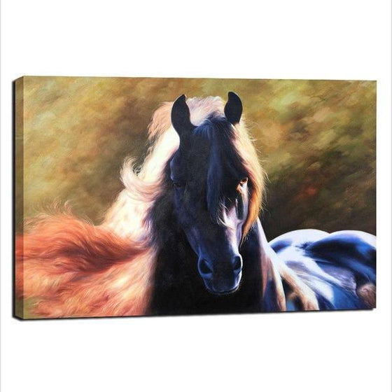 Magnificent Black Horse Canvas Wall Art Decor