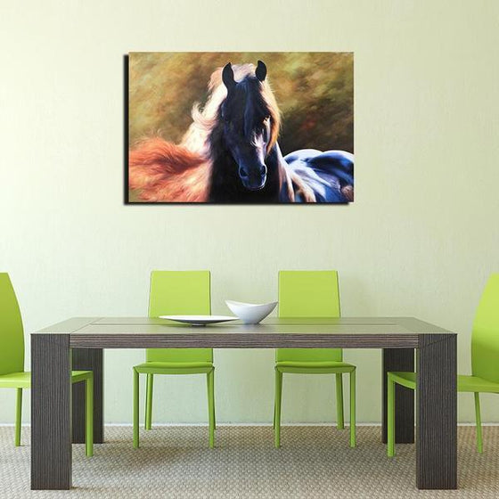 Magnificent Black Horse Canvas Wall Art Dining Room