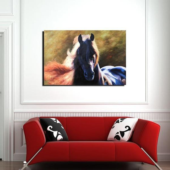 Magnificent Black Horse Canvas Wall Art Living Room