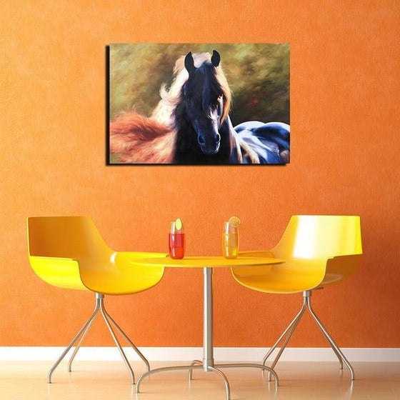 Magnificent Black Horse Canvas Wall Art Print