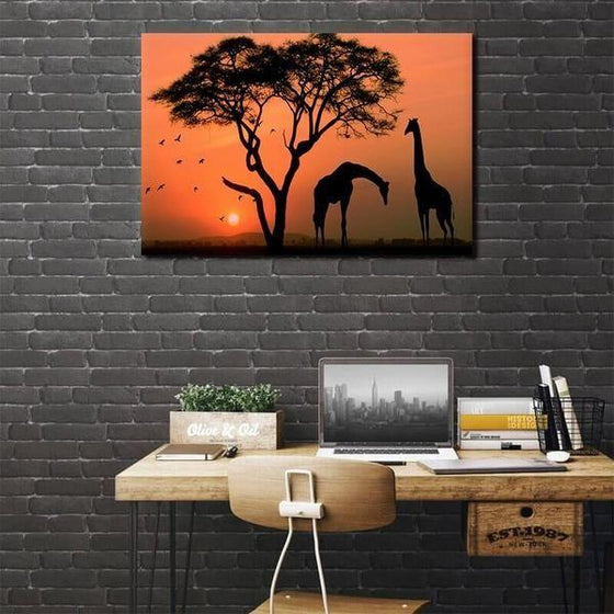 Magnificent Giraffes Silhouette Canvas Wall Art Bedroom