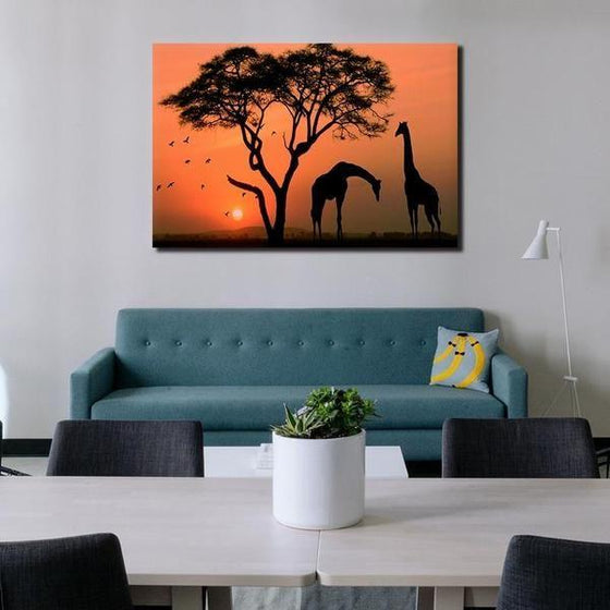 Magnificent Giraffes Silhouette Canvas Wall Art Living Room