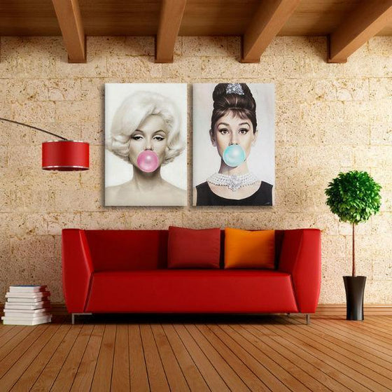 Marilyn Monroe And Audrey Hepburn Wall Art Canvas