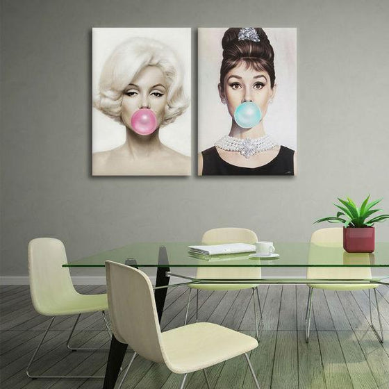 Marilyn Monroe And Audrey Hepburn Wall Art Dining Room