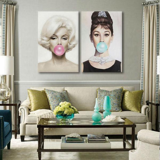 Marilyn Monroe And Audrey Hepburn Wall Art Living Room