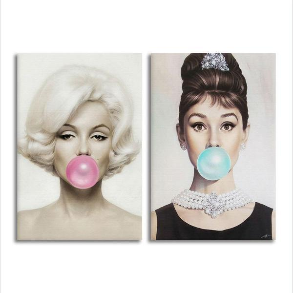 Celebrities Marilyn Monroe And Audrey Hepburn Canvas Wall Art ...