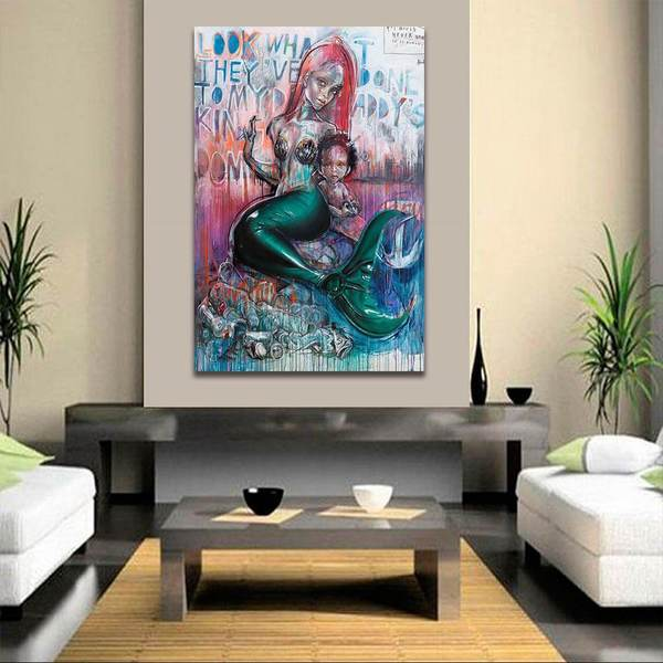 MERMAID SUNSET 20X30 INCH LARGE FRAMED HD CANVAS RARE ARTISTIC