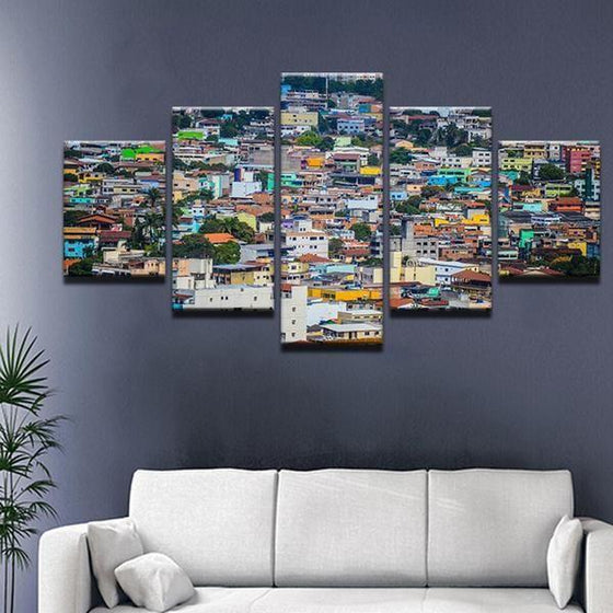 Colorful Houses Canvas Wall Art