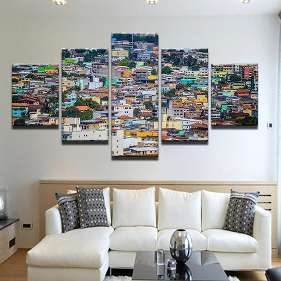 Colorful Houses Canvas Wall Art Living Room