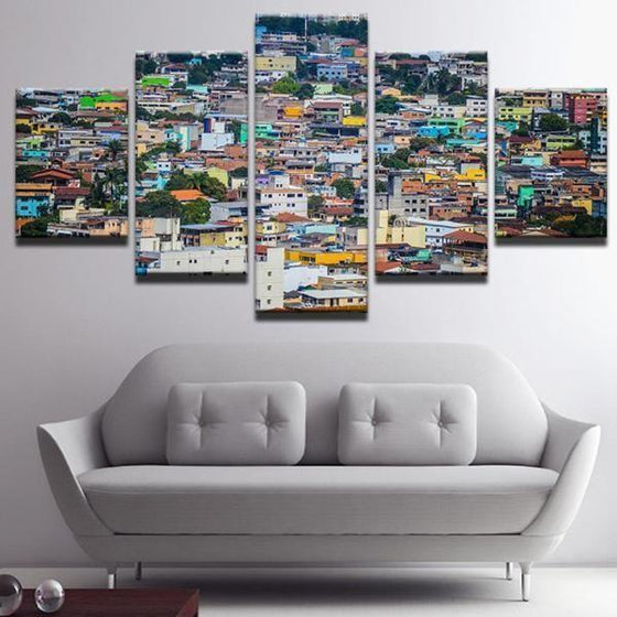 Colorful Houses Canvas Wall Art Home Decor