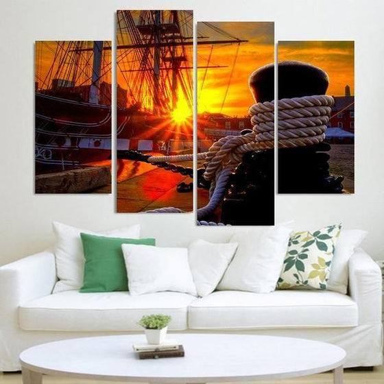 Docked Ship Over The Sunset Canvas Wall Art
