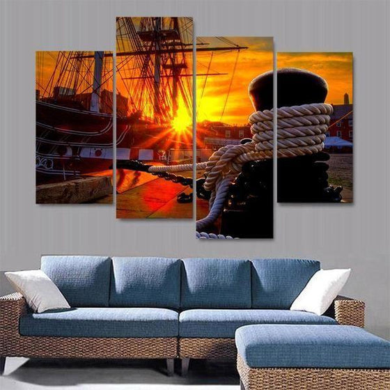 Docked Ship Over The Sunset Canvas Wall Art Living Room