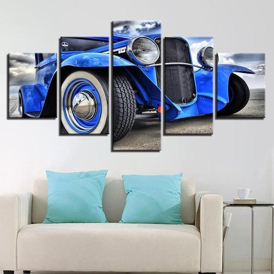 Blue Hot Rod Canvas Wall Art Living Room