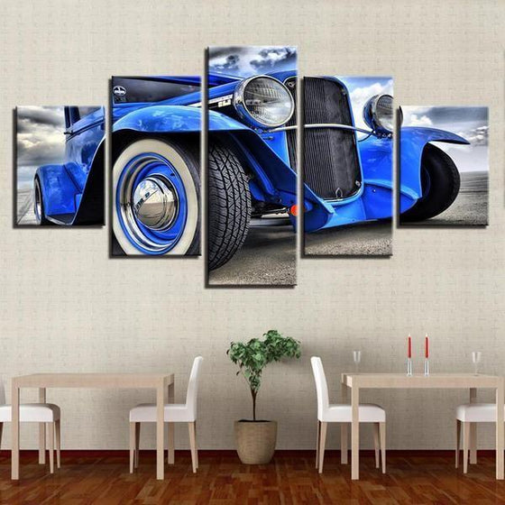 Blue Hot Rod Canvas Wall Art Restaurant Decor