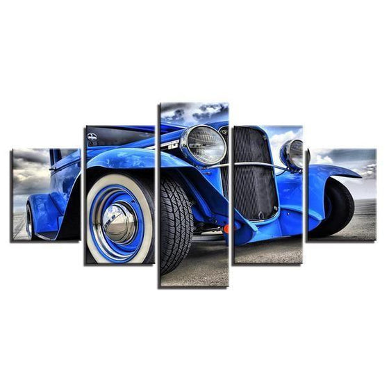 Blue Hot Rod Canvas Wall Art