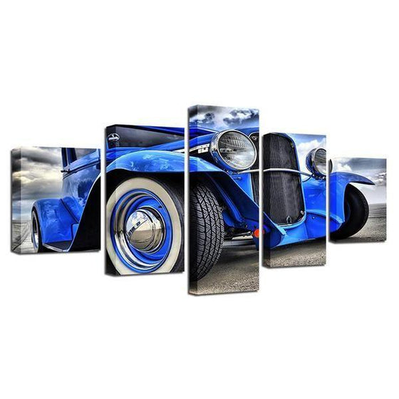 Blue Hot Rod Canvas Wall Art Prints