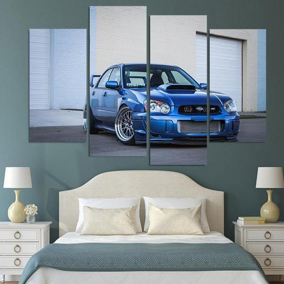 Blue Subaru WRX STI Canvas Wall Art Bedroom