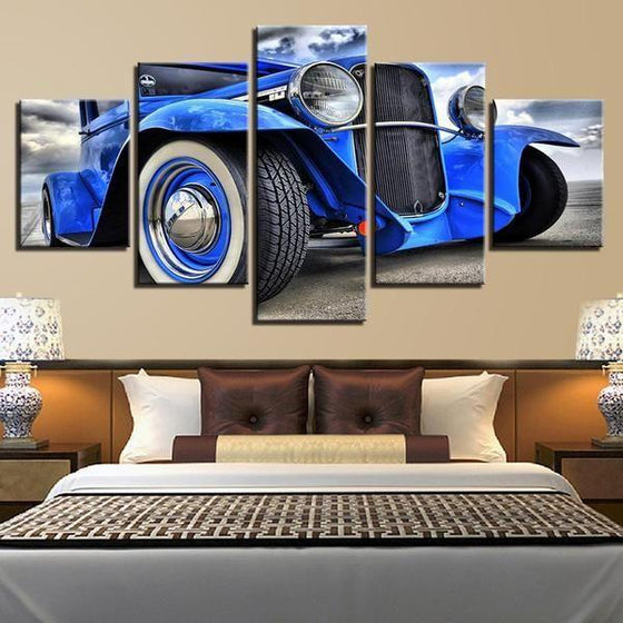 Blue Hot Rod Canvas Wall Art Bedroom