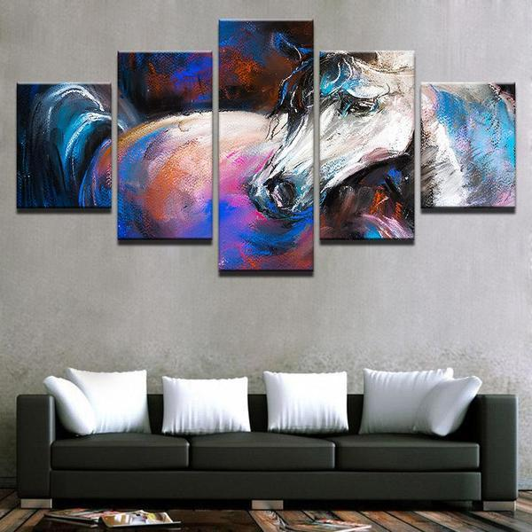 Abstract White Horse Canvas Wall Art — canvasx.net