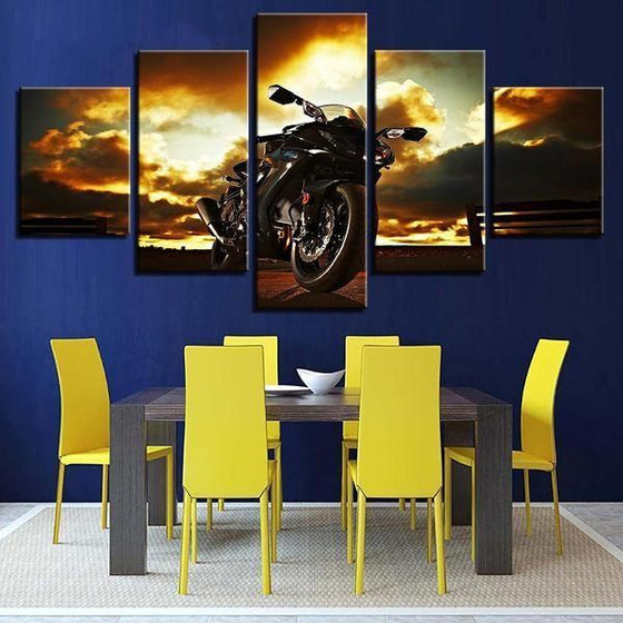 Metal Wall Art Motorcycles Canvas
