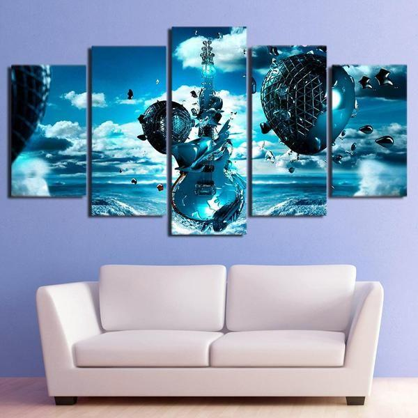Abstract Blue Musical Instrument Canvas Wall Art