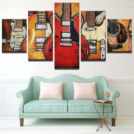 Different Types of Guitar Abstract Canvas Wall Art