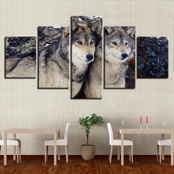Metal Wall Art Wolves Canvas