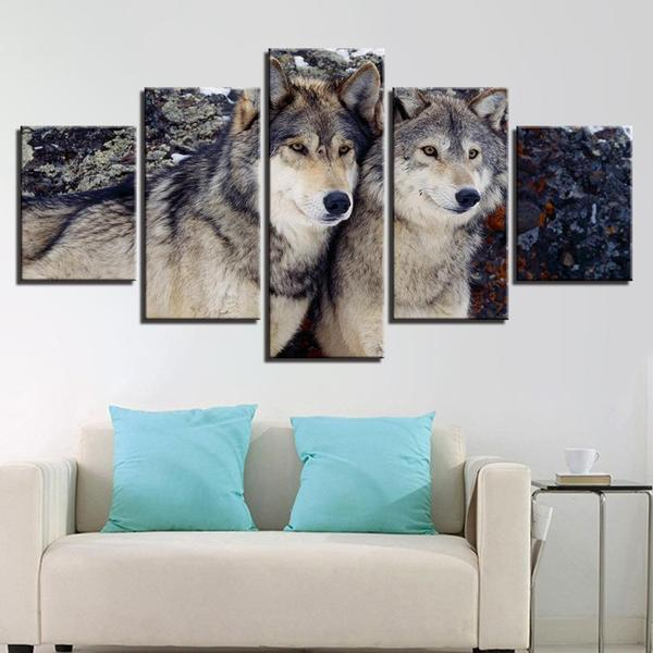 Metal Wall Art Wolves Decor