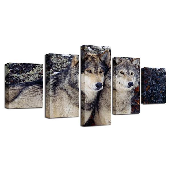 Metal Wall Art Wolves Print