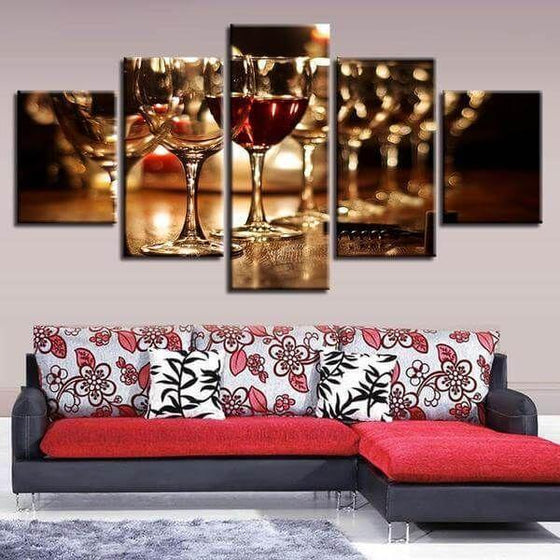 Metal Wine Wall Art Canvas