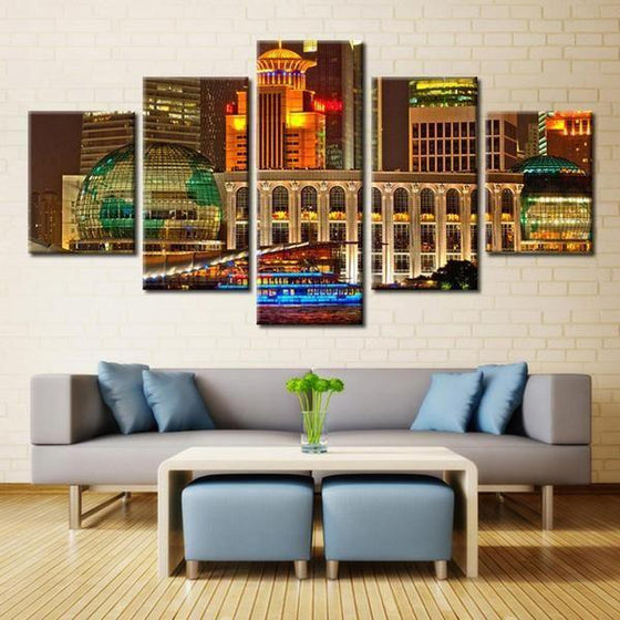 City Night Scene Architecture Canvas Wall Art Home Decor