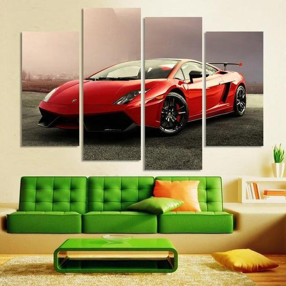 Red Lamborghini Gallardo Canvas Wall Art For Living Room