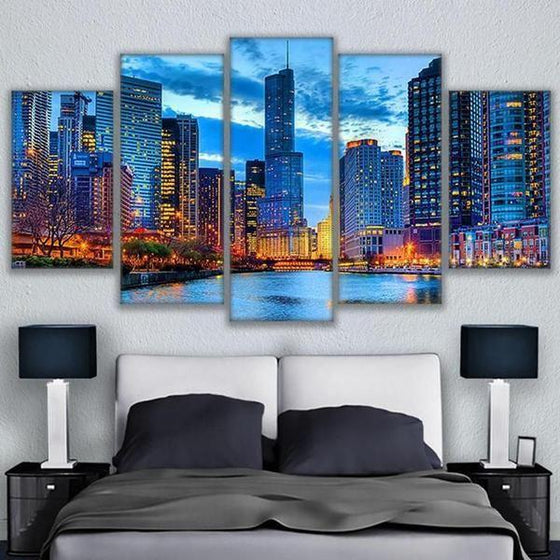 Chicago City Night View Canvas Wall Art Bedroom