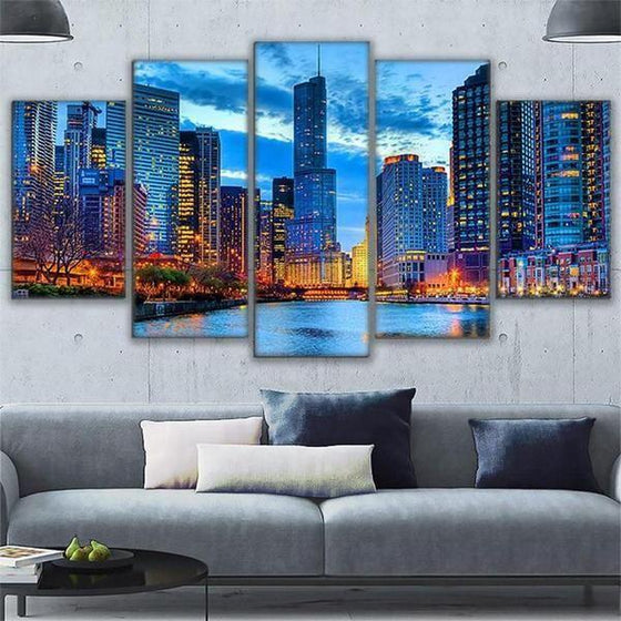 Chicago City Night View Canvas Wall Art  Home Decor