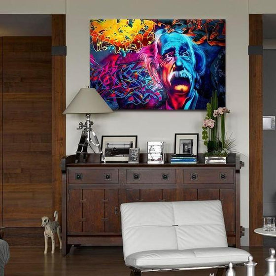 Modern Colorful Albert Einstein Canvas Wall Art Bedroom