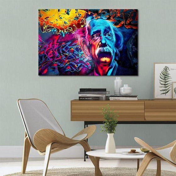 Modern Colorful Albert Einstein Canvas Wall Art Decor