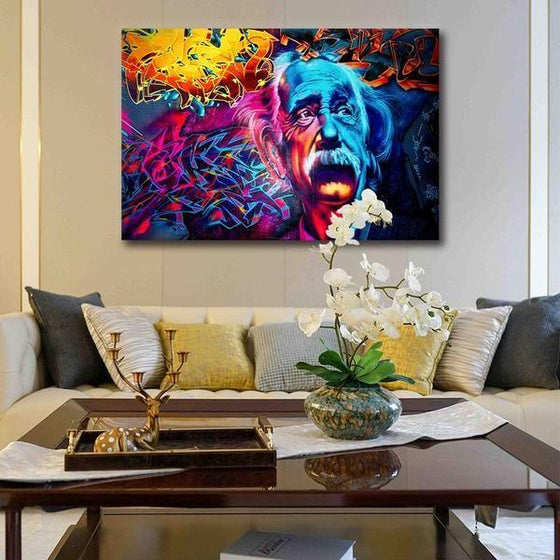 Modern Colorful Albert Einstein Canvas Wall Art Living Room