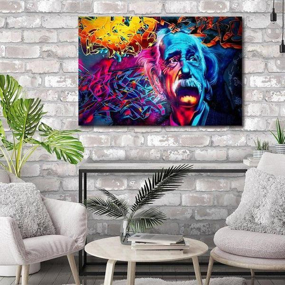Modern Colorful Albert Einstein Canvas Wall Art Print