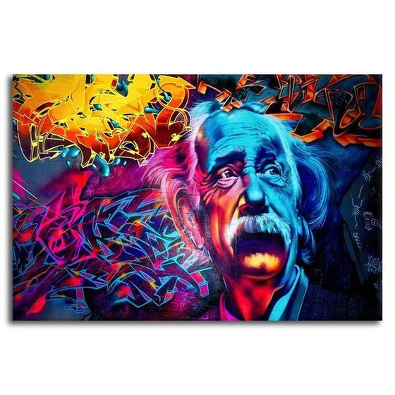 Modern Colorful Albert Einstein Canvas Wall Art