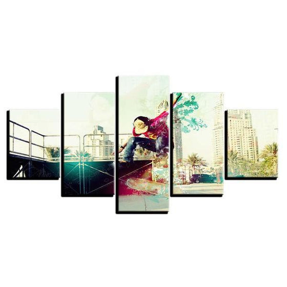 Modern Skateboarder Wall Art Canvas
