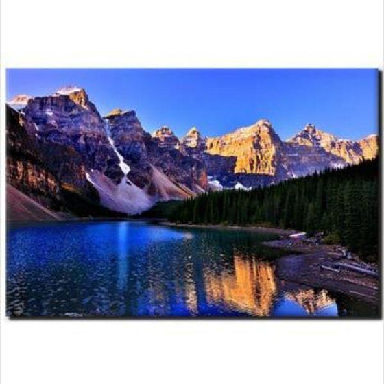 Moraine Lake And Mountains Wall Art Canvas