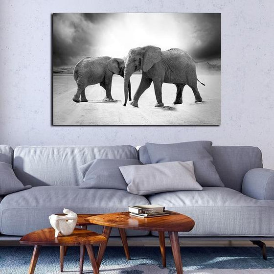 Mother & Child Elephant Canvas Wall Art Decor