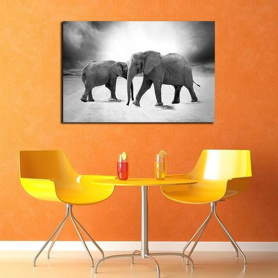 Mother & Child Elephant Canvas Wall Art Dining Room