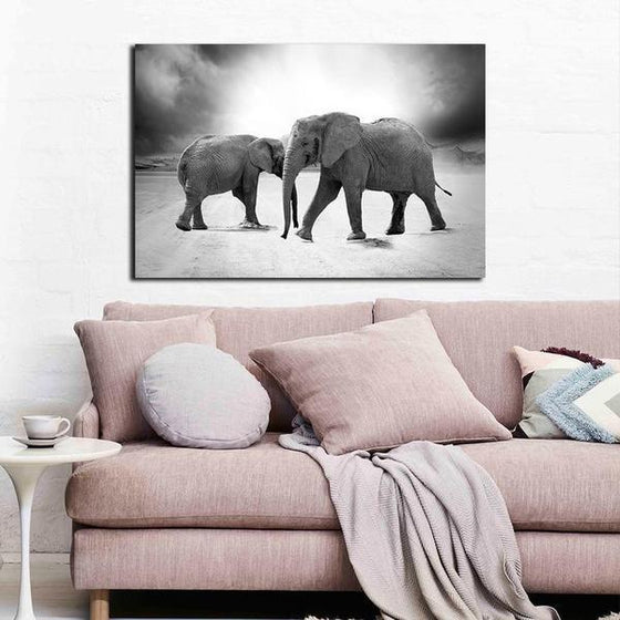 Mother & Child Elephant Canvas Wall Art Living Room