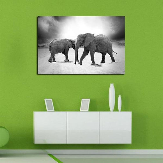 Mother & Child Elephant Canvas Wall Art Print