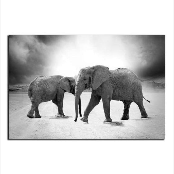 Mother & Child Elephant Canvas Wall Art