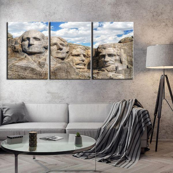 Mount Rushmore 3 Panels Canvas Wall Art Living Room